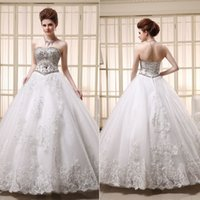 Cheap 2015 Luxury Ball Gown Wedding Dresses Sparkly Rhinestone Crystals Beaded Sequins Corset and Tulle Bridal Fancy Gowns Customized Vestidos Hot