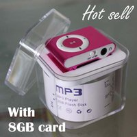 Wholesale Mini clip metal mp3 player with GB TF card colors sport mp3 player MP3 cable cord Earphone crystal Box pc up