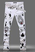 Wholesale New fashion trend Men leopard print elastic jeans mens jeans