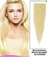 Wholesale Brazilian Virgin Remy Hair Clip In Human Hair Extensions pieces Full head bleach blonde Color