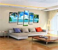 beach decor - high quality D Modern Home Decor Oil Painting Canvas Landscape Blue Beach large wall art picture