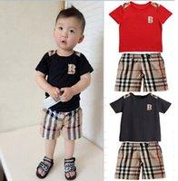 Cheap New Summer children clothing set baby boy set short Plaid O-neck sets baby suit baby set