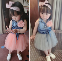 baby tracksuit - Baby Girls Sets Kids Outfits Clothes Tracksuit Sleeveless Vest Flower Denim Tshirts Tutu Tulle Veil Skirts Set Gray Pink J5052