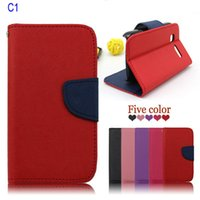 Wholesale Free DHL Color Stand Leather Case For Alcatel One Touch Pop C1 OT D Phone Case With Credit Card Slots