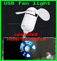 art deco advertising - Programmable Mini Fan Laptop USB Computer Fan light With LED Lights Any Text Editing Creative Character Advertising Message Greetings