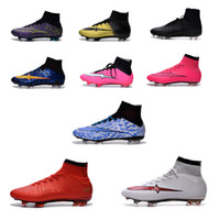 ankle bags - Mercurial Superflys FG Soccer Shoes High Ankle Football Boots ACC Men Outdoor Superfly CR7 Cleats With Free Bag And Socks