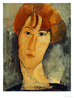 One Panel amedeo modigliani paintings - Woman Painting Portrait Amedeo Modigliani Paintings for sale A young Woman with a Reddish Brown Collar Hand painted High quality
