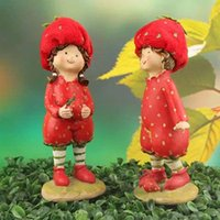 Wholesale Cute Red Strawberry Resin Doll Arts Crafts Decoration Cartoon Doll Creative Gifts Dwarfs Home Decorations