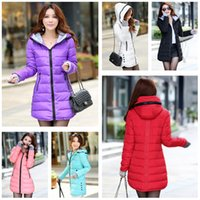 Wholesale Top Quality Autumn Winter New Women Ladies Padded Down Parkas Hooded Coat with hood Zipper Pockets Long Slim Jacket Outerwear G0684