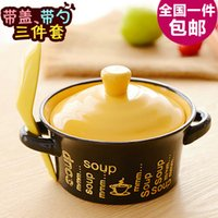 Wholesale Korean cute little mini ceramic casserole stew pot heat the soup pot casserole with lid spoon feed