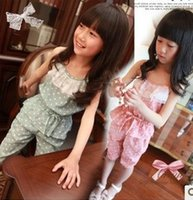 Cheap child polka dots Jumpsuits Best girls suspender pants
