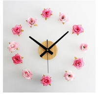 Wholesale Beautiful flowers Romantic rose DIY wall clock DIY clock Rural contracted fashion ideas mute