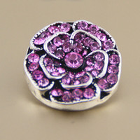 Wholesale Mix color crystal mm flower Metal Snap Button Hot Charm Button Ginger Snaps Jewelry diy making