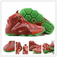 Wholesale New With Box Lebron XII LeBrons Mix Classic Men s Basketball Shoes Red Green Gold
