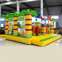 backyard party decorations - AOQI Party decoration funny bouncing playground kids jungle bouncer inflatable jumping bouncer with obstacle for sale