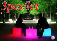 Wholesale plastic outdoor glow furniture cube square style party furniture