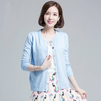 Wholesale 2015 New Fashion Women Casual Knitted Sweater Long Sleeve Cardigan Coat Jacket O neck Single Breated Outwear Tops Sweet Color