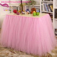 Wholesale Fashion Polyester Tulle Solid Height Wedding and Party Table Skirt