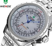 Cheap Analog 3ATM Military 2015 Hot Sale Stainless Steel Men Watch WEIDE Original JAPAN Quartz LED Digital Movement Wristwatch