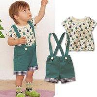 Wholesale Baby Boy Clothing Set Short Sleeve Tree Print Tshirt Romper Suit Baby Boy Summer Clothes Set