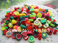 Wholesale Mixed Style Color Polymer Clay Crafts Sliced Fruit Scrapbooking Beads Clay Decoration mm W02355