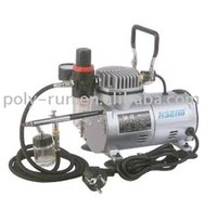 Wholesale TNT Dual Action HP Mini Airbrush air compressor kit Portable Oilless for make up tatoo painting DH18K