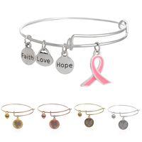 Cheap Alex sliver bangle bracelets for women Alloy pink geometric signs Faith LOVE Hope preventing breast cancer braceletes pendant