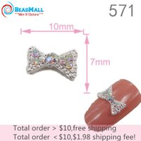 nail jewelry - Min order New Arrival mm Bow Mix color Rhinestones Silver Plated D Craft Nail Art Alloy Jewelry DIY