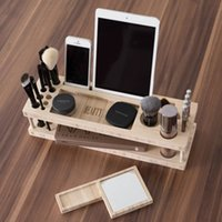 apple cosmetics - Multifunction Makeup Cosmetic Storage Stand Phone Holder Tablet Holder Multi Stand Very Rare Wooden Stand For iPhone Cellphone Tablet Holder