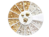 Wholesale 240 Gold Silver Metal Shell Nail Art Decoration Tools Alloy Studs wheel