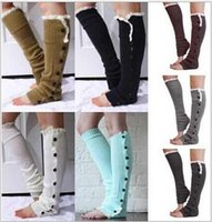 cotton knitted gloves - 2014 colors christmas Long solid button down Lace Knitted Leg Warmers Boot Stocking Socks Boot Covers Leggings Tight TOPB496 pairs