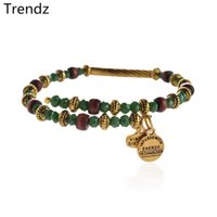 Wholesale Alex Ani Kelp Uncharted Voyage Wrap Bangle Retro Wine Red Wood Green Gold Beads Beaded Bracelets Jewelry Newest Design AA201554