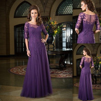 Mother's Dresses mother of the bride dresses - Mother Bride Dresses Classic Half Sleeves Dark Purple Dress Of The Groom Tulle Applique Lace Sheer Neck Long Wedding Evening Party Gown
