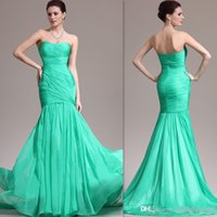 Cheap 2015 Couture Green Evening Gowns Mermaid Chiffon Strapless Corset Long Pleats Cheap Prom Party Dresses For Girls Custom Made In China