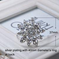 Cheap (S0428) 37mm diameter,100pcs lot Elegant Wedding Flower Rhinestone Napkin Rings ,Napkin Holders ,silver plating,all crystals