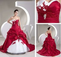 Wholesale 2015 New Hot Sales Sweetheart Sweep Train Ball Gown Taffeta Applique Ruffles White and Red Wedding Dresses Bridal Gowns