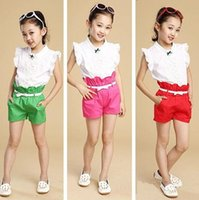 Cheap free shipping new girls summer fashion suits kids clothes tops lace shirt + Pants Set 2 pcs cute baby clothing set 3 colors