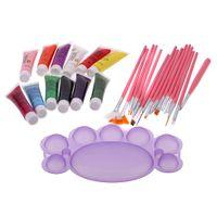 acrylic nail kit - Top selling Acrylic Painting Nail Art Suit Color Nail Art Paints Brush Palette Manicure Kit MPT W412