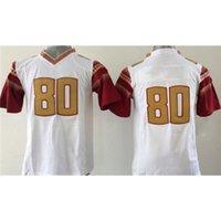 Cheap White #80 Boys College Football Jerseys Youth Sports Clothes High Quality Cheap Kids Football Apparel Kit Cool Football Gear Team Sportswear