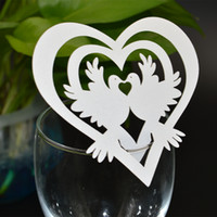 paper wedding place card holders - 120pcs Laser Cut humming bird heart shaped Place Card number holder Wine Glass Card Wedding xmas table Decoration wd115