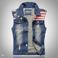 Wholesale Men korean slim autumn clothes trend male denim waistcoat casual distressed jeans vest WM0009 salebags
