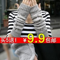Cheap 3Pair Arm sleeve ultra long sleeve semi-finger fashion cashmere wool yarn thermal gloves autumn and winter female