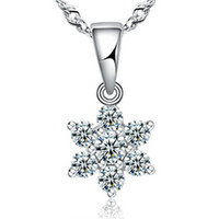 Cheap Diamond Pendant Austria Snow Flower Crystal Six Draw Cubic Zircon 925 Sterling Silver Pendant Necklaces For Wedding Dresses Sets Party S063