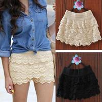 Wholesale 2015 New hot sale Summer Woman Shorts Sweet Style Lace shorts Crochet Hollow Elastic Waist Slim Short Pants Drop Shipping TZX100