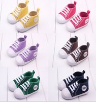 Wholesale 6 off new arrival New Pretty Baby Child Infants Toddlers Soft Sole Anti Slip Canvas Walk Shoes pairs