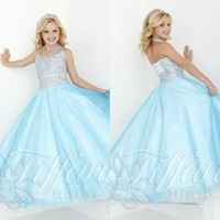 girls pageant dresses size 10 - Sky Blue Long Pageant Dresses for Teens Size Girls Dress Plus Size Halter Beads Crystals Girls Formal Party Dress Sleeveless