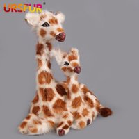 animal doll house toy - Doll Plush giraffe Toys Cute Red giraffe Simulation Animal Gift Genuine Sheep fur polyethylene furs handicraft house Decoration