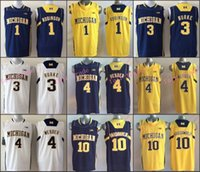michigan - NCAA Basketball Jersey Michigan Wolverines College Tim Hardaway Jr Chris Webber Trey Burke Robinson White Blue Yellow