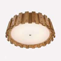 ash wood tree - Modern Chinese Style Solid Wood Ceiling Ash Tree Wooden Ceiling Lights with Frosted Glass Diffuser W W Energy Saving Tube