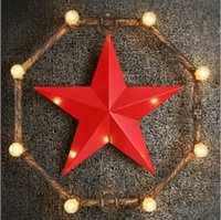 Wholesale Loft Vintage Five pointed Star Wall Lamp Art Iron Wall Lamp Industrial Retro Wall Lamp Cafes Bars Hotel Water Pipe Wall Light